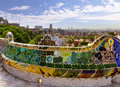Park guell in barcelona spain design mosaic Royalty Free Stock Photos