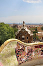 Park guell in barcelona spain with gaudi houses famous Stock Photos