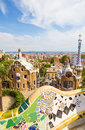 Park guell main entrance pavilions on september in barcelona spain view on barcelona and main entrance pavilions of Royalty Free Stock Photos