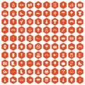 100 park icons hexagon orange