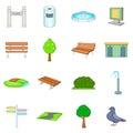 Park icons set, cartoon style Royalty Free Stock Photo