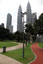 Park and klcc towers kuala lumpur malaisya january near Royalty Free Stock Photography
