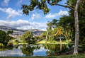 Park lake in Funchal city garden, Madeira island, Portugal Royalty Free Stock Photo