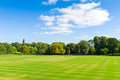 Park landscape beautiful with cricket playing field Royalty Free Stock Photography