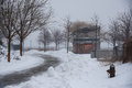 Park in Long Island City covered with snow during the Winter Storm Stella - New York. Royalty Free Stock Photo
