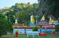 Park with lots of Buddha statues near sacred Kaw Ka Thawng Cave Royalty Free Stock Photo