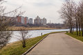 Park named after moscow s th anniversary city district marino april a fisherman in a city river Stock Image