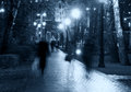 Park night alley silhouettes a view of a walkway pathway in a alight by lanterns lamps streetlight with trees people Stock Images
