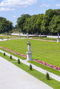 Park in nymphenburg castle munich under blue sky Stock Image