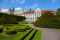 Park in oliwa cathedral and a complex of buildings a city poland Royalty Free Stock Image
