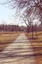 Park path at spring walk in the Royalty Free Stock Photo