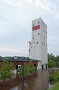 Park pavilion in floodwaters of mississippi river renovated historic grain elevator now a saint paul minnesota Stock Photography