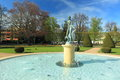 Park in podebrady the fountain with the statue spa czech republic Royalty Free Stock Photography