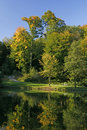 Park with pond in autumn, Germany Stock Photography