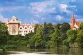 Park pruhonice in the czech republic castle Stock Photos