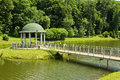 Park with a rotunda beautiful summer and paths Stock Photography
