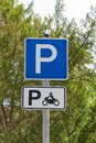 Park sign with regard to motorcycle parking german Stock Photo