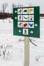 Park sign Winter scene Royalty Free Stock Photo