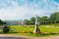 Park with statues and palace in kuskovo of earl sheremetyev mansion moscow russia Stock Photo