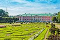 Park with statues and palace in kuskovo of earl sheremetyev mansion moscow russia Stock Image