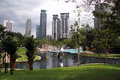 Park and towers kuala lumpur malaisya january near klcc in center of modern city Royalty Free Stock Photography