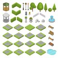 Park vector isometric parkland with green garden trees grass and bench fountain pond in city illustration set of parkway