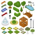 Park vector parkland with green garden trees grass and fountain or pond in city illustration set of isometric parkway in