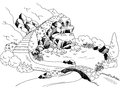 Park waterfall river graphic art black white landscape illustration Royalty Free Stock Photo