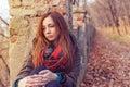 Park woman sadness autumn loneliness Royalty Free Stock Photos