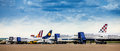 Parked airplanes at zagreb airport tarmac belonging to croatia airlines lufthansa germanwings austrian airlines and sunadria on Stock Image