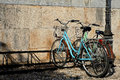 Parked bicycle in narrow street in the old town of Kos. Royalty Free Stock Photo