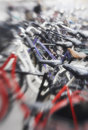 Parked bikes. Royalty Free Stock Images