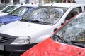 Parked cars in an exemplar order Stock Photos