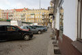Parked cars poznan poland january many near the glogowska street glogowska is one of the main streets in poznan Royalty Free Stock Images