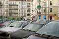 Parked cars poznan poland january many near the glogowska street glogowska is one of the main streets in poznan Royalty Free Stock Photos