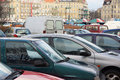 Parked cars poznan poland january many near the glogowska street glogowska is one of the main streets in poznan Royalty Free Stock Image