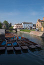 Parked punting boats Royalty Free Stock Photo