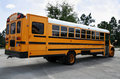 Parked schoolbus rear Royalty Free Stock Images