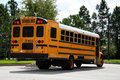 Parked schoolbus rearAa Royalty Free Stock Photos