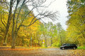 Parking in autumnal bezrucovo udoli valley czech republic Stock Photos