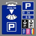 Parking clock icon. Vector set for parking time tracking Royalty Free Stock Photo