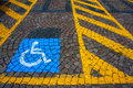 Parking for disabled cars and signal the Stock Photography