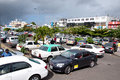 Parking flacq mauritius june shopping day at market a lot of turists go to market by taxi june in Royalty Free Stock Photos