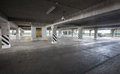 Parking garage of shopping center underground interior Stock Photography
