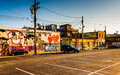 Parking lot and graffiti on old buildings in Baltimore, Maryland Royalty Free Stock Photo