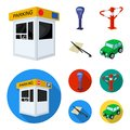 A parking lot, a parking meter, a check for services, a barrier. Parking zone set collection icons in cartoon,flat style Royalty Free Stock Photo