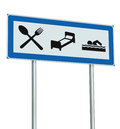 Parking Lot Road Sign Isolated Restaurant Hotel Motel Swimming Pool Icons, Roadside Signage Pole Post Blue Black White Signboard Royalty Free Stock Photo