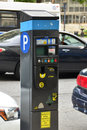 Parking meter in new york city solar powered device to pay for municipal on the street Stock Photos