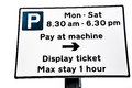 Parking Meter Pay & Display Sign Royalty Free Stock Photo