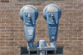 Parking meters in the city. Royalty Free Stock Photo